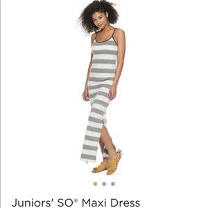NWT SO Side Slit Striped Maxi Dress